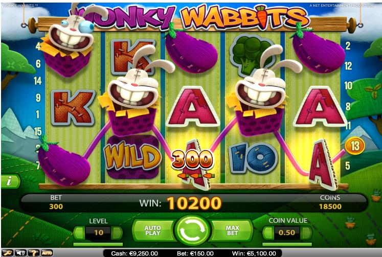 slotmaskiner wonky wabbits big win